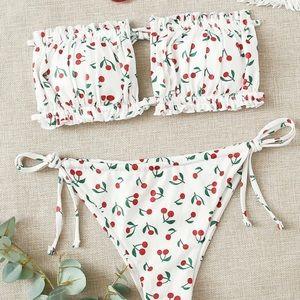 Other - strapless cherry design bikini set